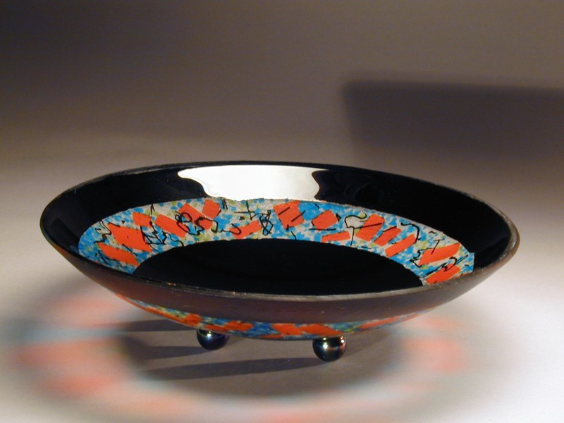 Ring of Black Bowl, fused glass bowl