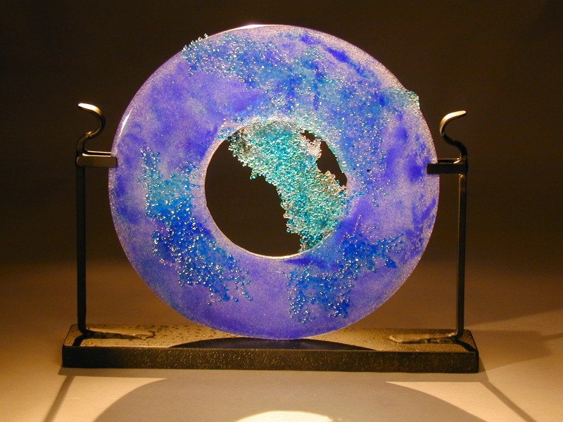 Ocean Circle, fused glass, cast glass, glass and metal sculpture