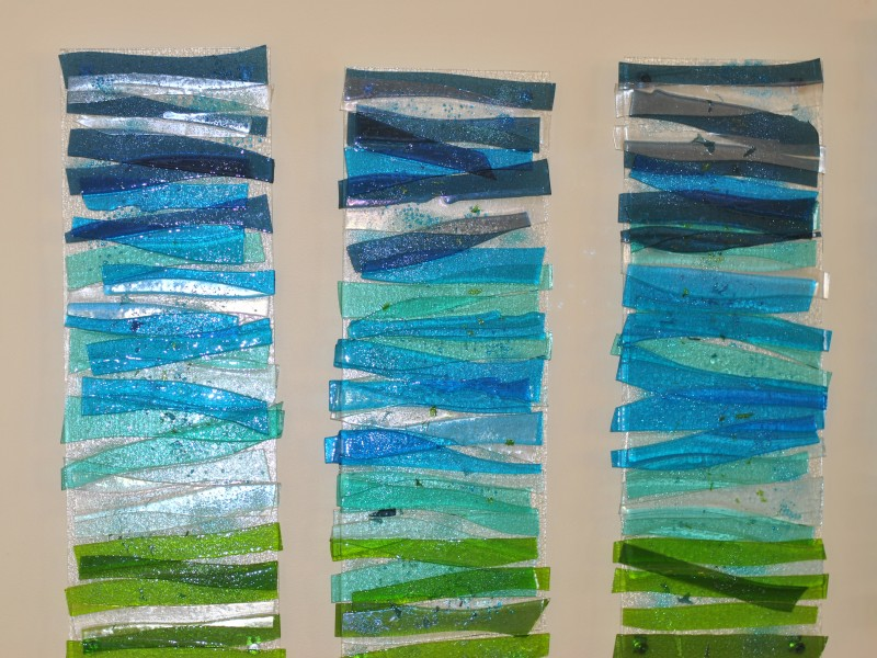 Sanibel Island Marriot, fused glass, wall sculpture, water design