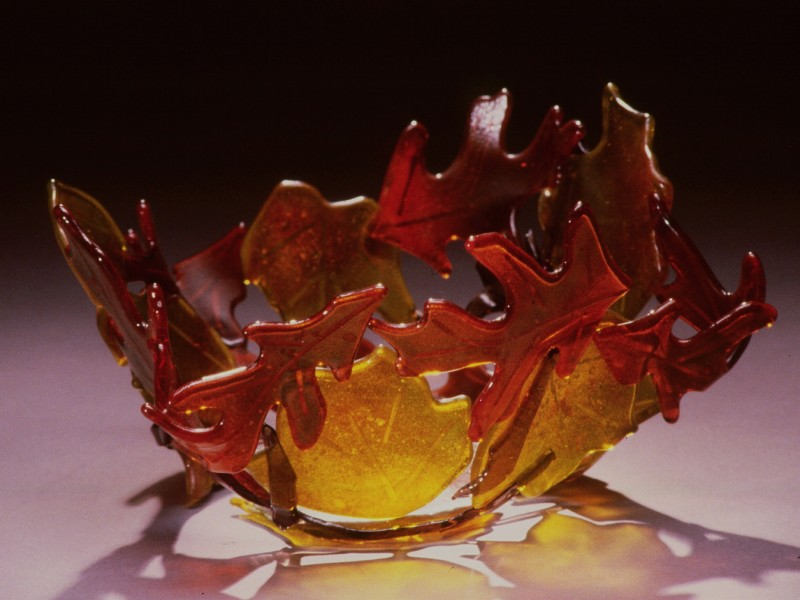 Fall Leaves, fused glass bowl