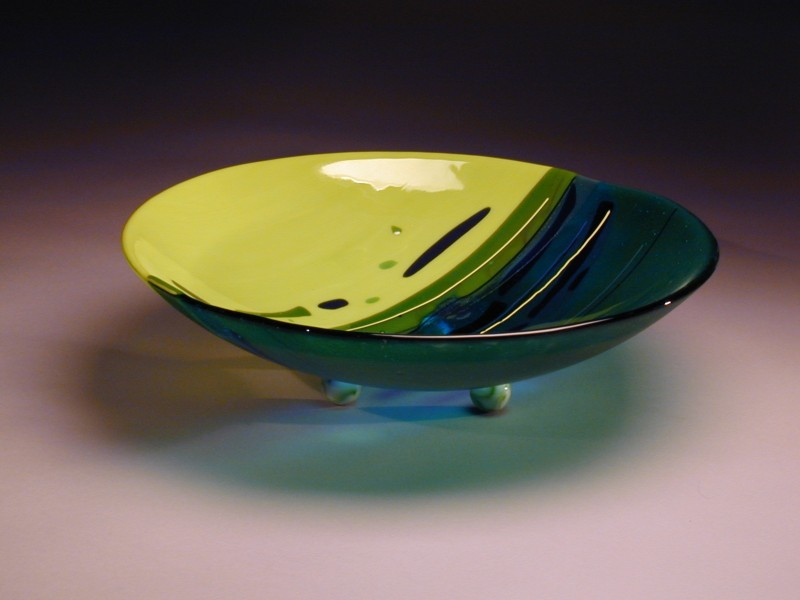 Lime and Turquoise Bowl, fused glass bowl
