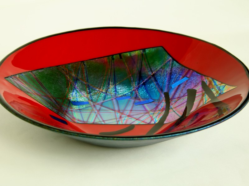 Red Flash, fused glass bowl with dichroic glass