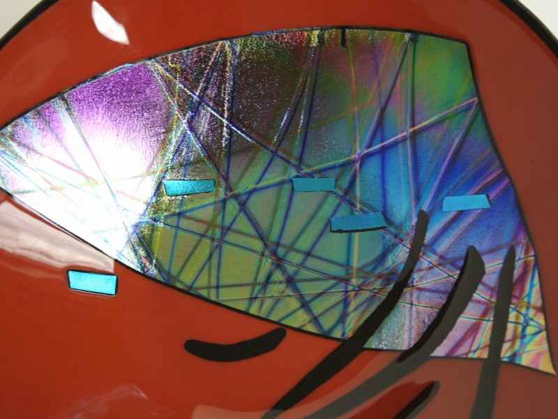 Red Flash detail, fused glass bowl with dichroic glass