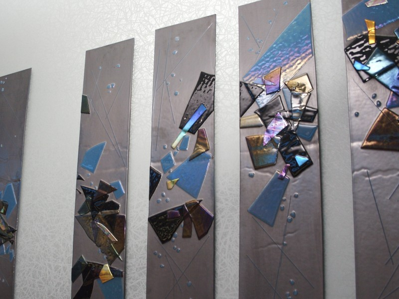 Steel Blue Twilight, fused glass, wall sculpture, iridized glass, dichroic glass