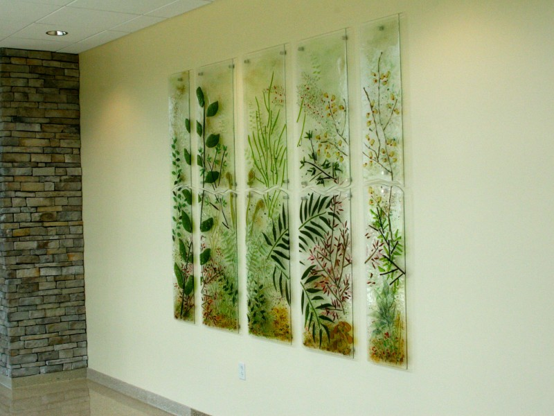 Fern Forest, fused glass, wall sculpture
