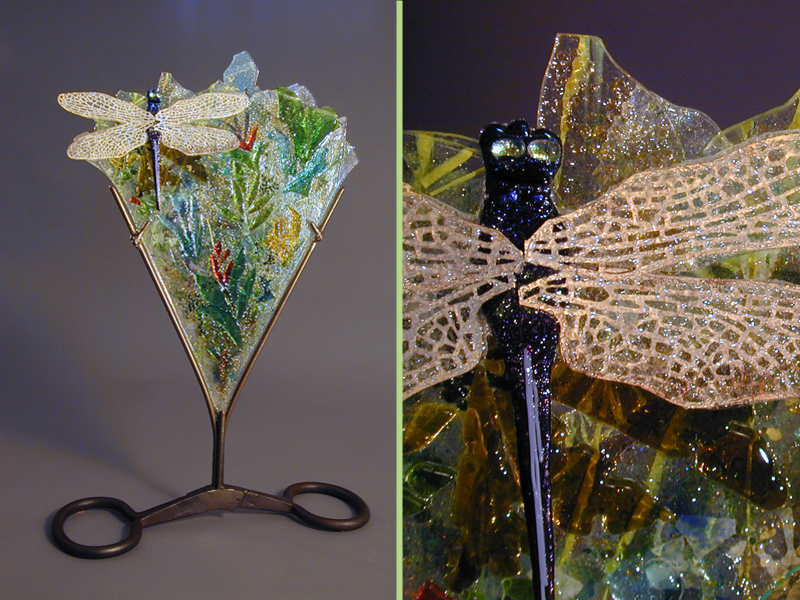 Jungle Garden, fused glass, glass and metal sculpture, dragonfly