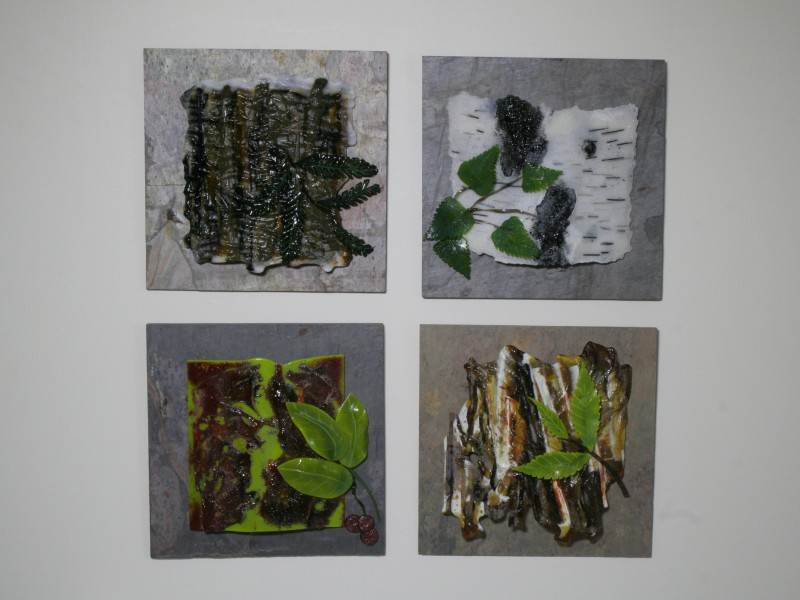 Bark Series, fused glass, wall sculpture, sand cast, 3D elements