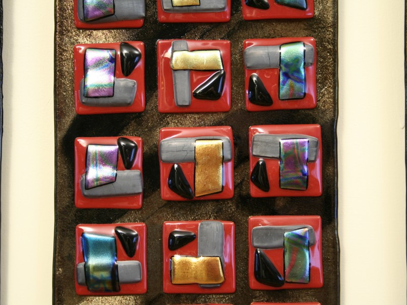 Study In Red, fused glass, Iridized glass, wall sculpture, Art glass