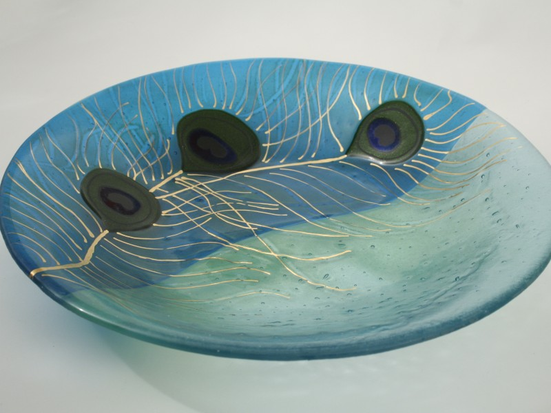 Peacock Feathers, fused glass bowl