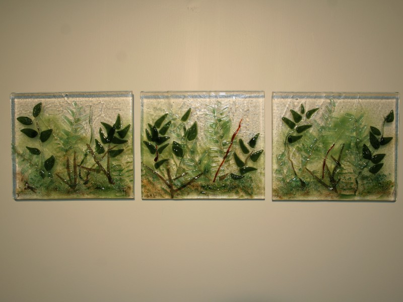 Ferns, fused glass, wall sculpture, triptych
