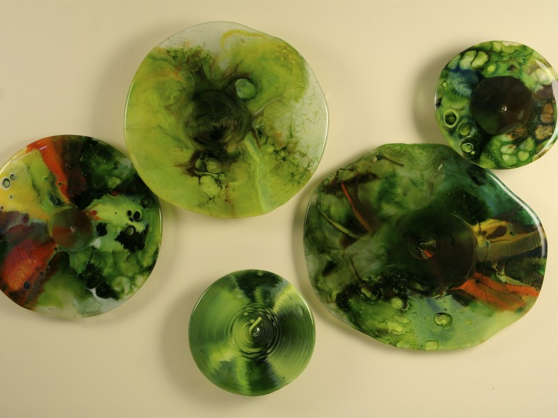 What Color is Green?,  fused glass, Pot melt, wall sculpture