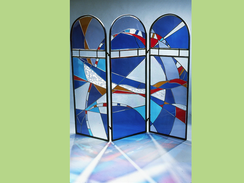 Movements In Color, Stained glass screen, metal and glass screen