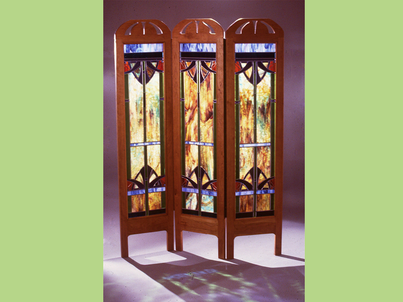 Nouveau Screen, Stained glass screen, Wood and glass screen