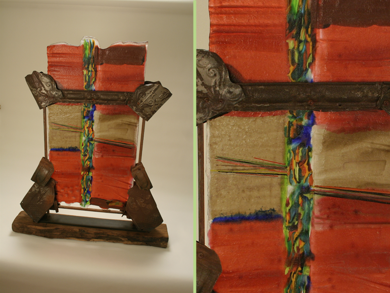Samurai, fused glass, glass and metal sculpture, mixed media