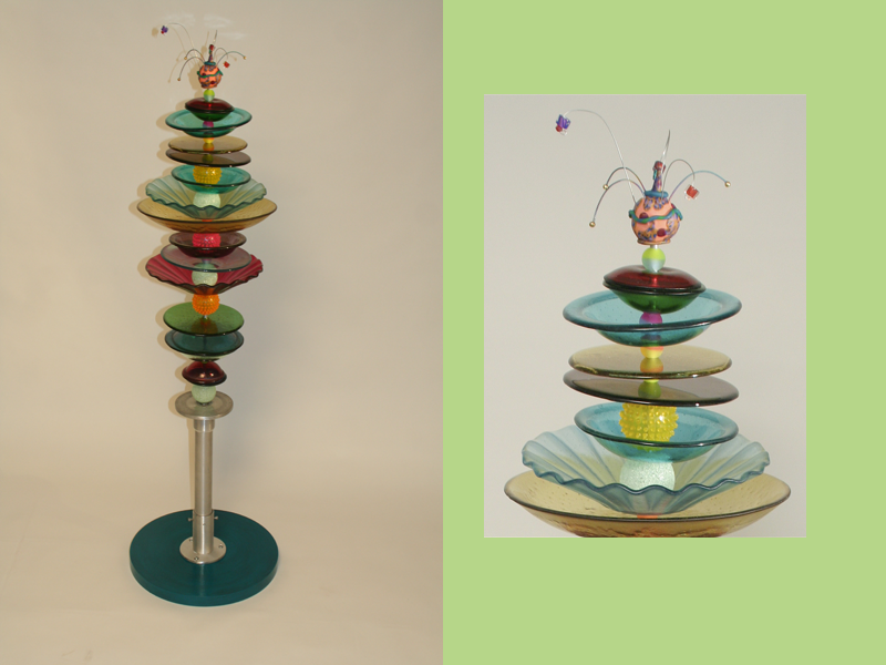 Stacking Tower, fused glass, glass and  aluminum sculpture, mixed media