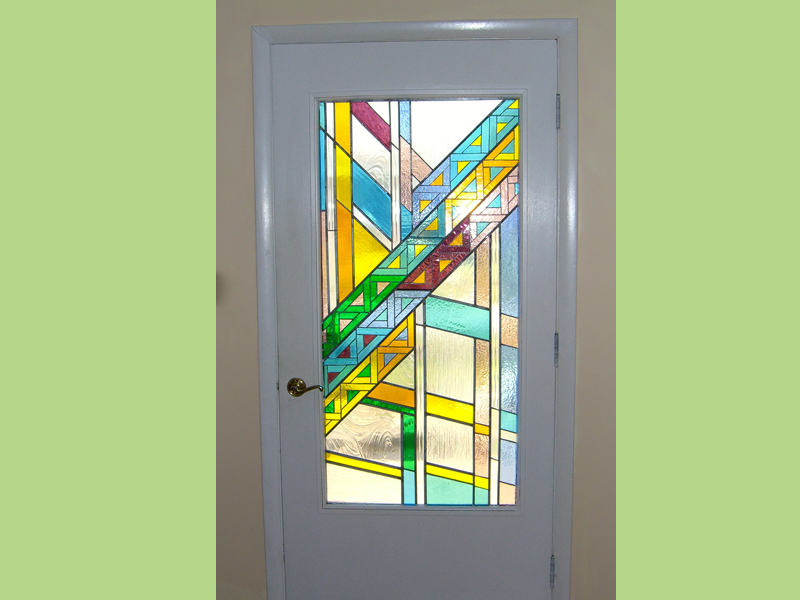 Triangles Residential Door, stained glass, residential art door