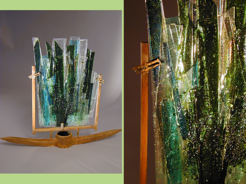Mining 4 Aventurine, fused glass, glass and metal sculpture