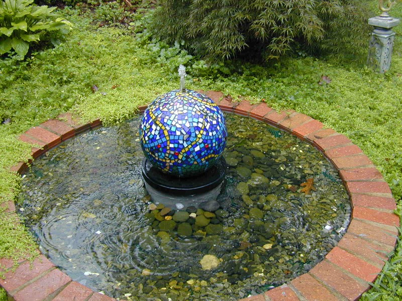 Mosaic Fountain, mosaic tile, fountain, stained glass