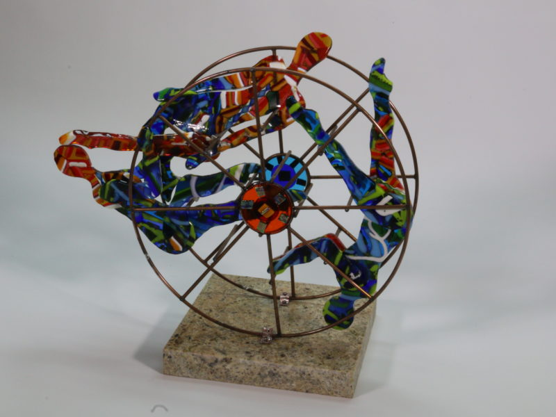 Balance In Color, fused glass, sculpture, circus figures, kinetic, pattern bar