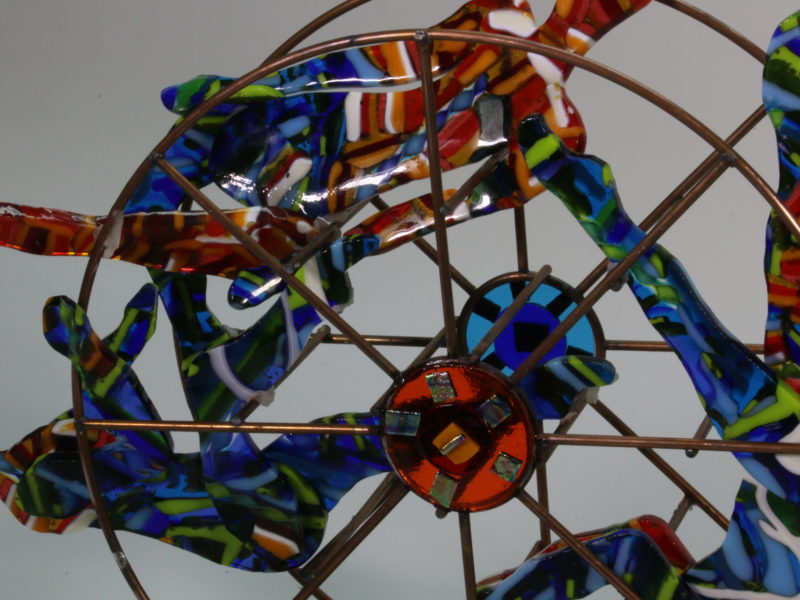 Balance In Color, fused glass, sculpture, circus figures, kinetic