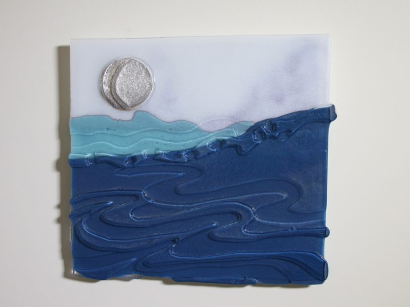 Moon on Silver Sea, fused glass, kiln carving, wall sculpture, seascape