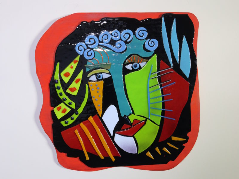 Wild Woman, fused glass, wall sculpture, portrait design,