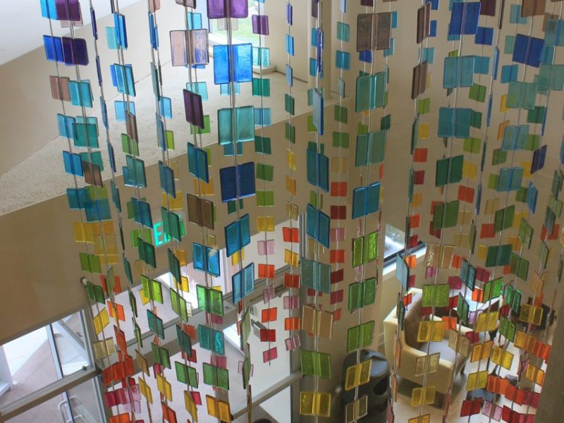 Linden Park Apt. Baltimore, hanging lobby art, glass hanging, fused glass hanging, mobile, hanging color study